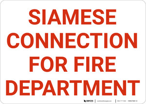 Siamese Connection For Fire Department Landscape - Wall Sign