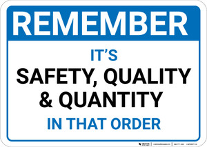 Remember: Safety Quality Quantity In That Order Landscape - Wall Sign