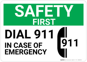 Safety First: Dial 911 In Case Of Emergency Phone Icon Landscape - Wall Sign