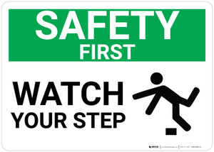 Safety First: Watch Your Step Trip Icon Landscape - Wall Sign