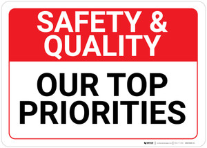 Safety & Quality: Our Top Priorities Landscape - Wall Sign
