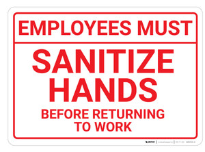 Employees Must: Sanitize Hands before Returning To Work Landscape - Wall Sign