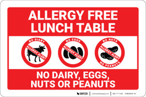 Allergy Free Lunch Table No Dairy Eggs or Nuts with Icons Landscape Red - Wall Sign