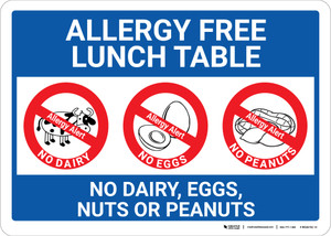 Allergy Free Lunch Table No Dairy Eggs or Nuts with Icons Landscape - Wall Sign