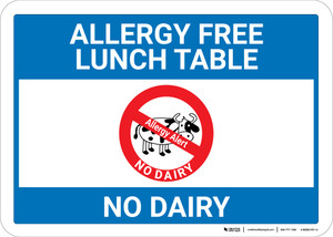 Allergy Free Lunch Table No Dairy with Icon Landscape - Wall Sign