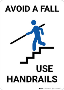 Avoid A Fall Use Handrails with Icon Portrait - Wall Sign
