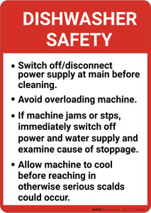 Dishwasher Safety Guidelines Portrait - Wall Sign