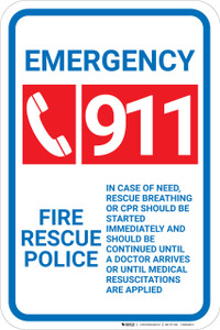 Emergency 911 Fire Rescue Police with Icon Portrait - Wall Sign