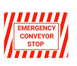 Emergency Conveyor Stop with Hazard Border Landscape - Wall Sign
