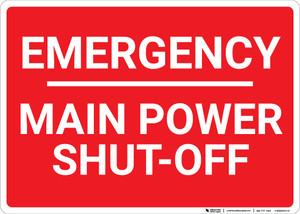 Emergency Main Power Shut Off Landscape - Wall Sign