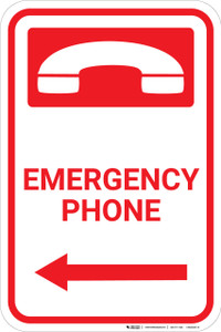 Emergency Phone with Icon and Left Arrow Portrait - Wall Sign
