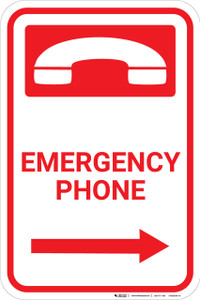 Emergency Phone with Icon and Right Arrow Portrait - Wall Sign