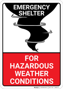 Emergency Shelter For Hazardous Weather with Icon Portrait - Wall Sign