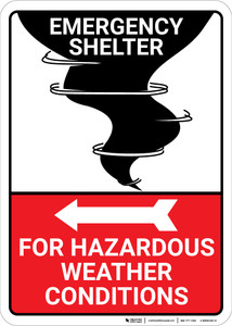 Emergency Shelter Hazardous Weather with Left Arrow and Icon Portrait - Wall Sign