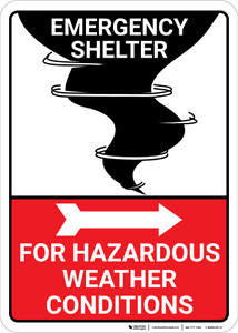 Emergency Shelter Hazardous Weather with Right Arrow and Icon Portrait - Wall Sign