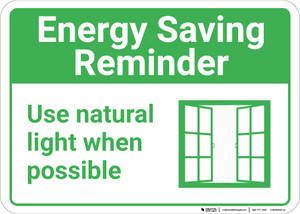 Energy Saving Reminder Use Natural Light with Icon Landscape - Wall Sign