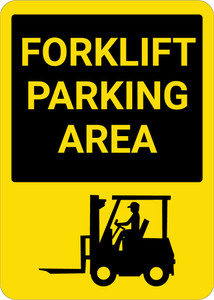 Forklift Parking Area with Icon Portrait - Wall Sign