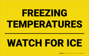 Freezing Temperatures Watch For Ice Landscape - Wall Sign
