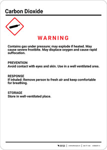 GHS Carbon Dioxide with Pictogram Portrait - Wall Sign