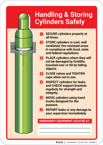 Handling and Storing Cylinders Safely with Icon Portrait - Wall Sign