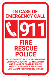 In Case Of Emergency Call 911 with Icon Portrait - Wall Sign