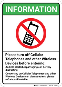 Information Please Turn Off Cellular Telephones with Icon Portrait.eps - Wall Sign