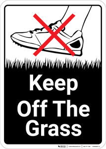 Keep Off The Grass with Icon Portrait - Wall Sign