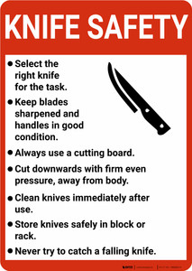 Knife Safety Guidelines with Icon Portrait - Wall Sign