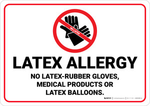 Latex Allergy with Icon Landscape - Wall Sign