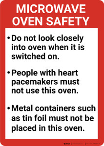 Microwave Oven Safety Guidelines Portrait - Wall Sign