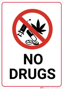 No Drugs with Icon Portrait - Wall Sign
