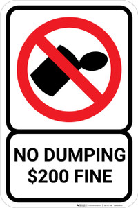 No Dumping Fine with Icon Portrait - Wall Sign