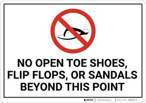 No Open Shoes Or Sandals with Icon Landscape.eps - Wall Sign