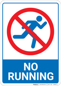 No Running Blue and White with Icon Portrait - Wall Sign