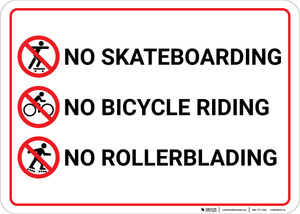 No Skateboarding No Bicycle Riding No Rollerblading with Icons Landscape - Wall Sign