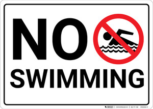 No Swimming with Icon Landscape - Wall Sign