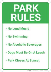 Park Rules Portrait - Wall Sign