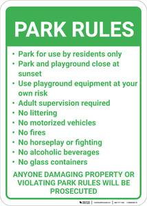 Park Rules Violators Will Be Prosecuted Portrait - Wall Sign