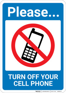 Please Turn Off Cell Phone with Icon Portrait - Wall Sign