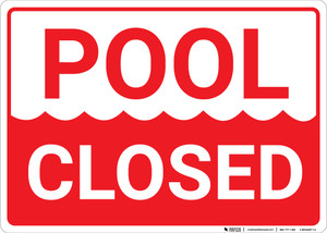 Pool Closed Landscape - Wall Sign