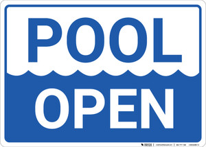 Pool Open Landscape - Wall Sign