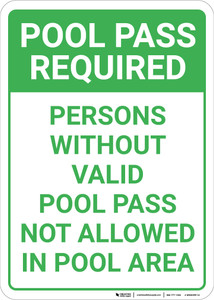 Pool Pass Required Portrait - Wall Sign