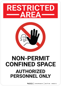 Restricted Area Non Permit Confined Space with Icon Portrait - Wall Sign