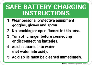 Safe Battery Charging Instructions Landscape - Wall Sign