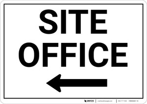 Site Office with Left Arrow Landscape - Wall Sign