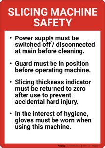Slicing Machine Safety Guidelines Portrait - Wall Sign