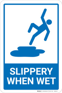Slippery When Wet Blue and White with Icon Portrait - Wall Sign