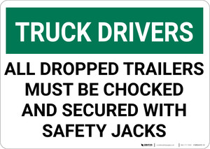 Truck Drivers Trailers Must Be Chocked And Secured Landscape - Wall Sign