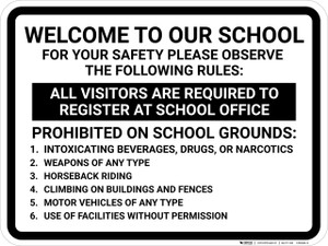 Welcome To Our School Rules Landscape - Wall Sign