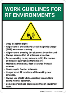 Work Guidelines For Rf Environments with Icon Portrait - Wall Sign